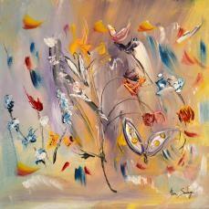 butinage de printemps, peinture abstraite florale d'ame sauvage