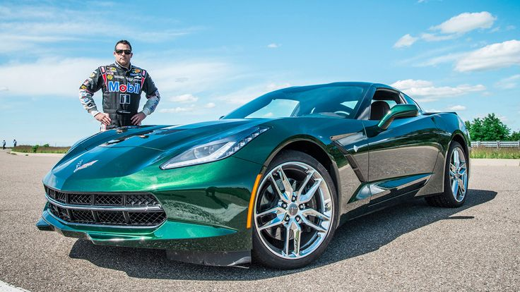 Love the color!  Proud Americans: Tony Stewart drives the 2014 Corvette Stingray