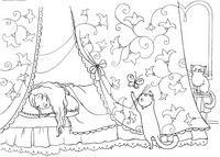 Сон - скачать и распечатать раскраску. Раскраска Спальня принцессы, принцесса в опочивальне, спящая принцесса, полог кровати, котята, раскраска котята