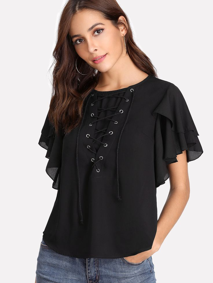 Shop Eyelet Lace Up Flutter Sleeve Top online. SheIn offers Eyelet Lace Up Flutter Sleeve Top & more to fit your fashionable needs.