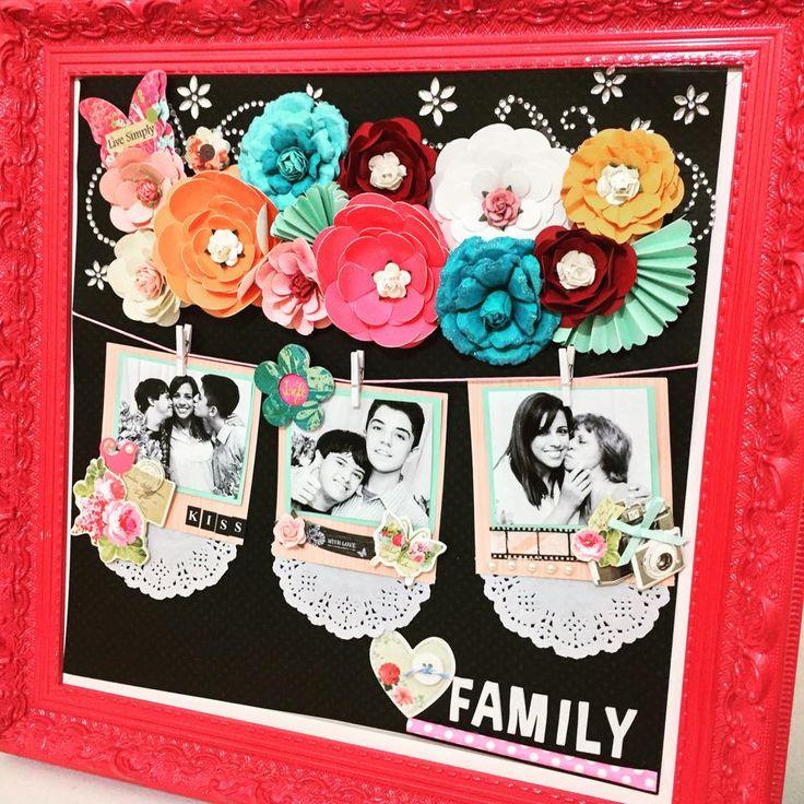 página decorada no quadro - usando furadores de flor, flores artesanais, doilys,mini pregadores,adesivos ,letras adesivas e strass