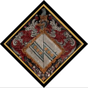 A modern looking hatchment in St Michael & All Angels Church, Sidestrand, Norfolk, England. This is the hatchment of Samuel Hoare, 1st Viscount Templewood,
