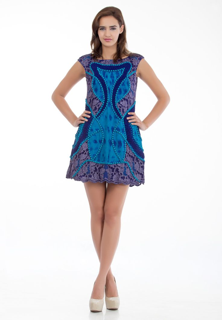 Blue Turquoise Full Embroided Lace Dress -> - Bule Turquoise Full Embroided Dress - Flat Boat Neck - Mega Sleeves - Embroidery with 3D Elements - Febric maniplated as Embroidery in Placement. - Closer - zip at center back - Dry Clean  Order Now : http://www.rinkusobti.com/clothing/blue-turquoise-full-embroided-lace-dress