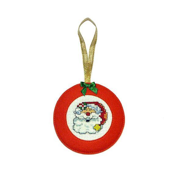 SANTA CLAUS  Embroidered Christmas ornaments  Christmas