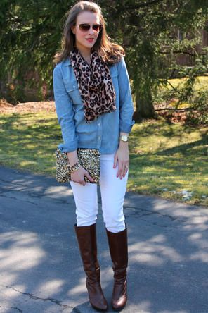 I love white jeans in winter.  With a chambray shirt, cheetah scarf, and riding boots, this outfit can be warm and comfortable, as well as stylish!  This will be an outfit I pack!  Follow me on Instagram @fourtyfourdays