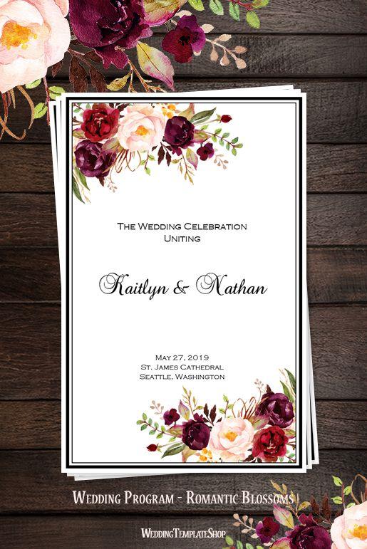 Burgundy, Red, Blush Pink, Marsala DIY Wedding Program, Order of Service Templates, Romantic Blossoms Watercolor Florals.