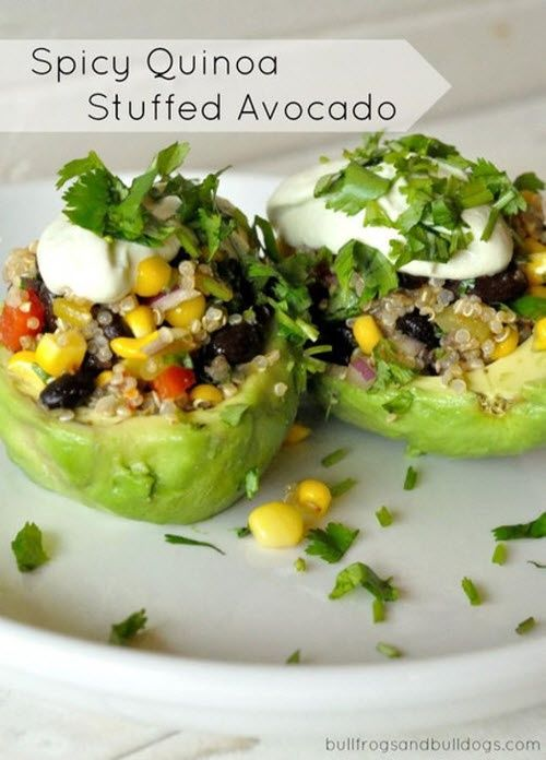 Spicy Quinoa Stuffed Avocado~ Ok I am so glad I found this becuase quinoa and avocado are both super healthy for you! Going to make this very soon!