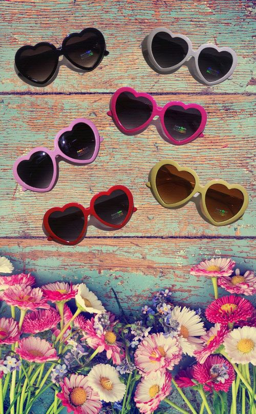 "cute heart shaped sunglasses in different colors, black, white, pastel pink, magenta, red, and pastel yellow, lolita, vintage, vintage style, 50s, 60s, 70s, retro, sunglasses, glasses, shades, sunnies, summer, summertime, beach, accessories, lana del rey, ""baby put on heart shaped sunglasses"" summer time sadness"