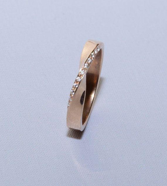 Mobius Solid Gold Ring, Mobius Diamond Ring, Moebius Band, 18k Mobius Ring, Mobius Wedding Band, Mobius Diamond Band, Solid Gold Ring