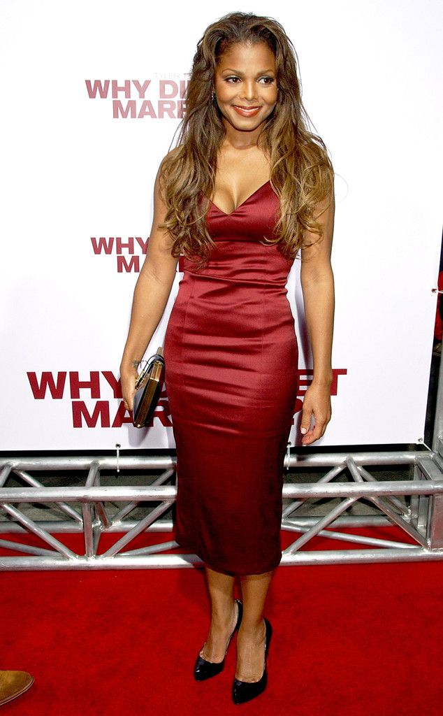 Red Hot from Janet Jackson's Best Looks From Red Carpet to Concerts  The singer donned a red satin midi to the 2007 premiere of Why Did I Get Married?—and oh yeah, she looked good.