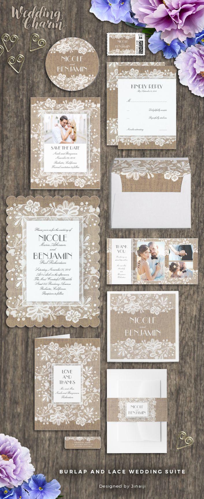 monogram wedding envelope seals sticker%0A Rustic burlap and vintage floral lace elegant Wedding Invitation Collection