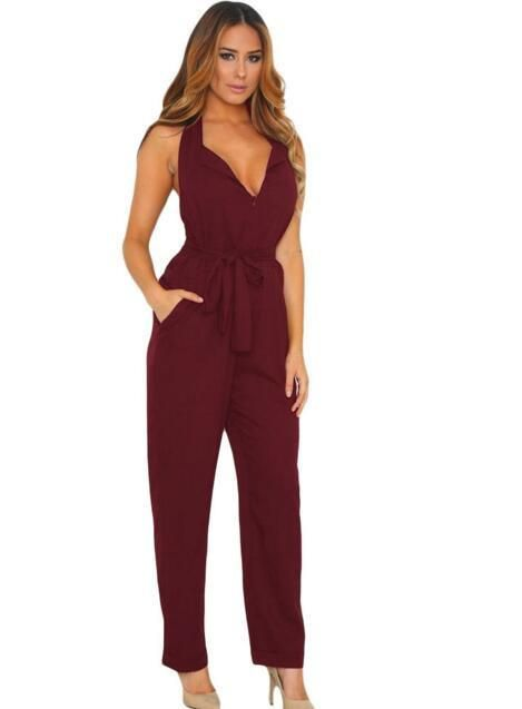 Zkess Jumpsuit Long Pants Women Rompers Sleeveless 2XL V-neck 2016 Belt Solid Sexy Night Club Elegant Slim Jumpsuits Overalls