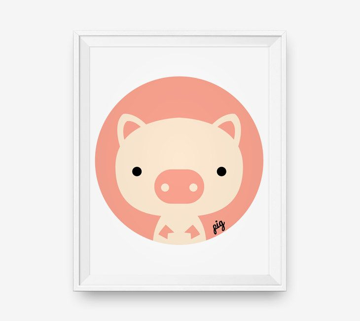 Pig for nursery, Baby cute farm animal wall art, children decor animal for kids rooms by loopzart on Etsy