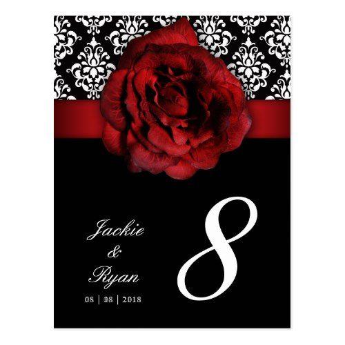 232 table number postcard red rose damask floral red wedding rh pinterest com