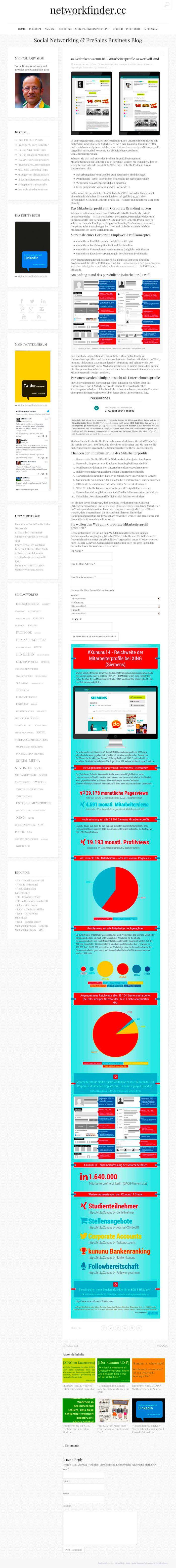 Das Corporate Mitarbeiter Profil von Arbeitgebern bei #XING und #LinkedIn inkl. #Infografik zur kummulierten Reichweite am Bsp. der #Siemens AG http://www.networkfinder.cc/xing-linkedin-facebook-profiles/10-punkte-warum-b2b-mitarbeiterprofile-so-wertvoll-sind/