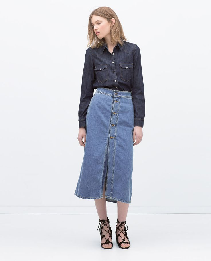 Image 1 of LONG SKIRT WITH BUTTONS from Zara