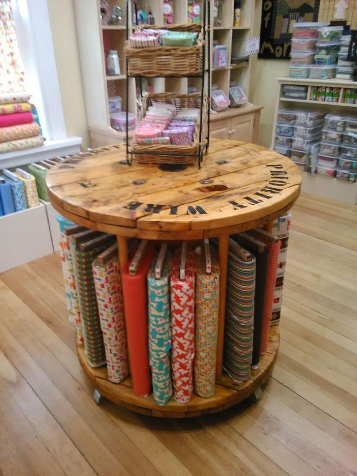 Success! Old wire spool refinished into fabric display.                                                                                                                                                     More
