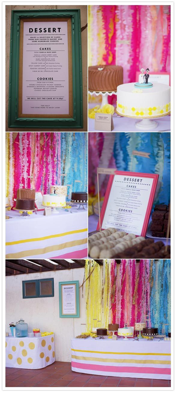 Absolutely lovely wedding! I love their use of the crepe paper and painted tablecloths (don't think I can paint mine -- will have to improvise).