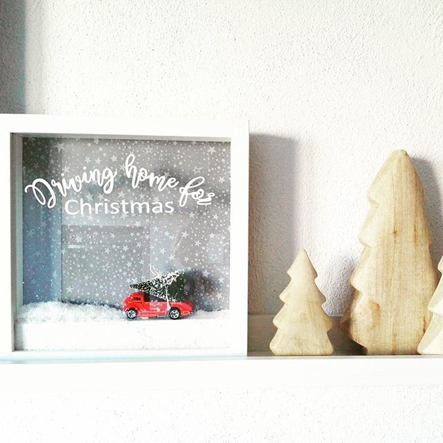 still DRIVING HOME FOR CHRISTMAS  I made another one after I gave the first Ribba to a good friend and her hubby. :-) #ribba #diy #handmadebyme #ikea #drivinghomeforchristmas #xmasidea #xmasdiybydana #redcarwithchristmastreeontop #silhouette #silhouettecameo #plotter #plotterdiy #plotterlove #christmasdecoration #woodentrees by @pappel14ausgesuchtschoenes #onmykitchenshelf #shelfie #weihnachtsideenkonfetti