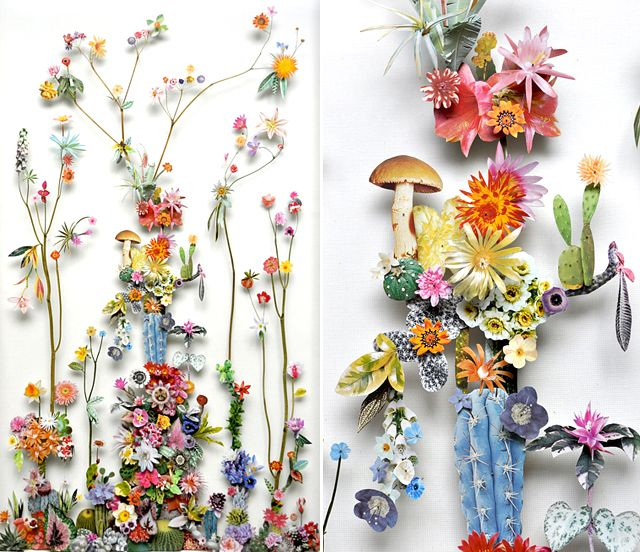 Dutch artist Anne Ten Donkelaar lays pressed wildflowers, dried stems, and paper cutouts on top of tiny little pins to create the most spectacular three dimensional collages. I love that the compositions cast shadows, making the landscapes that much more dramatic and lifelike.