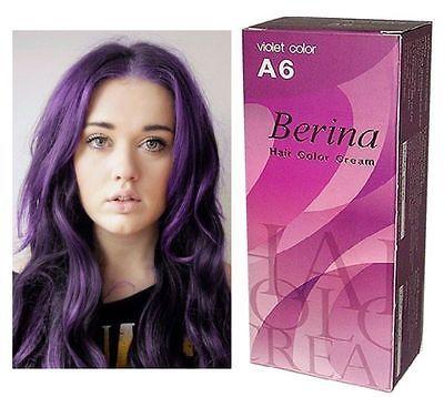 BERINA PROFESSIONAL PERMANENT HAIR DYE COLOR CREAM PURPLE VIOLET # A6