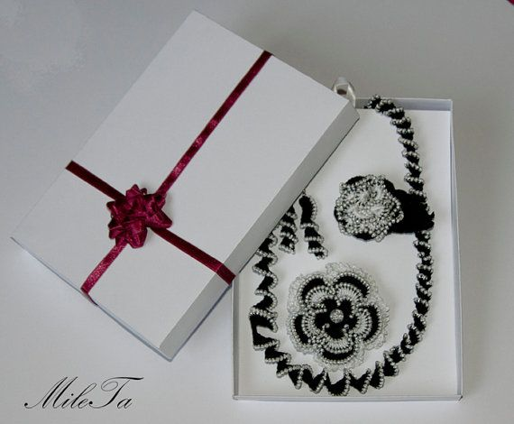 Crochet Beaded Jewelry Set Necklace Brooch Earrings Lace by MileTa