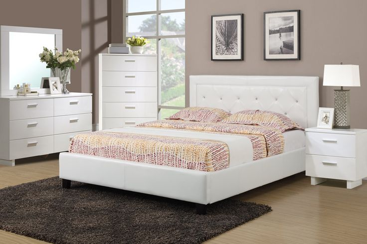 Queen Bed F9247Q Dream in all white with this faux leather bedframe of fresh and fun style.  Sale for $189