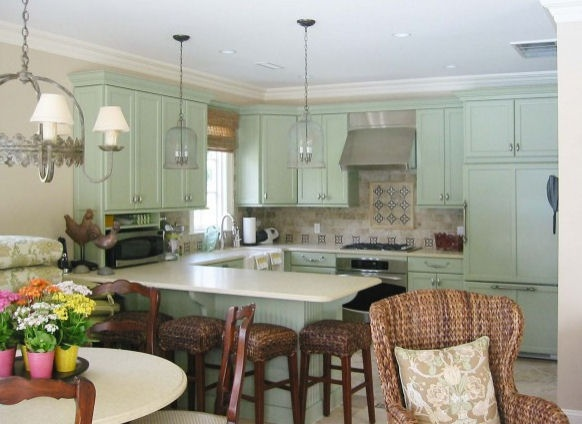 Pale green kitchen cabinets  For the kitchen  Pinterest