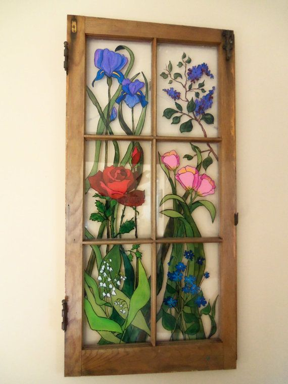 Painted Vintage Window  Cottage Garden by 1HeavnCreations on Etsy, $220.00