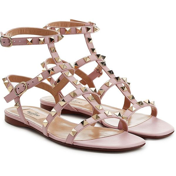 Valentino Rockstud Leather Sandals ($570) ❤ liked on Polyvore featuring shoes, sandals, rose, rose pink shoes, embellished shoes, flat sandals, flat shoes and pink leather shoes