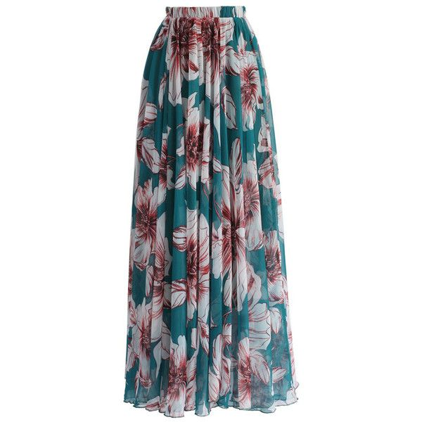 Green Blossoming Floral Chiffon Maxi Skirt (431.045 IDR) ❤ liked on Polyvore featuring skirts, maxi skirt, floral maxi skirt, pleated maxi skirt, summer maxi skirts and sexy maxi skirt