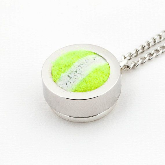 Tennis Ball Pendant and Necklace Made from a Real by therustedkey