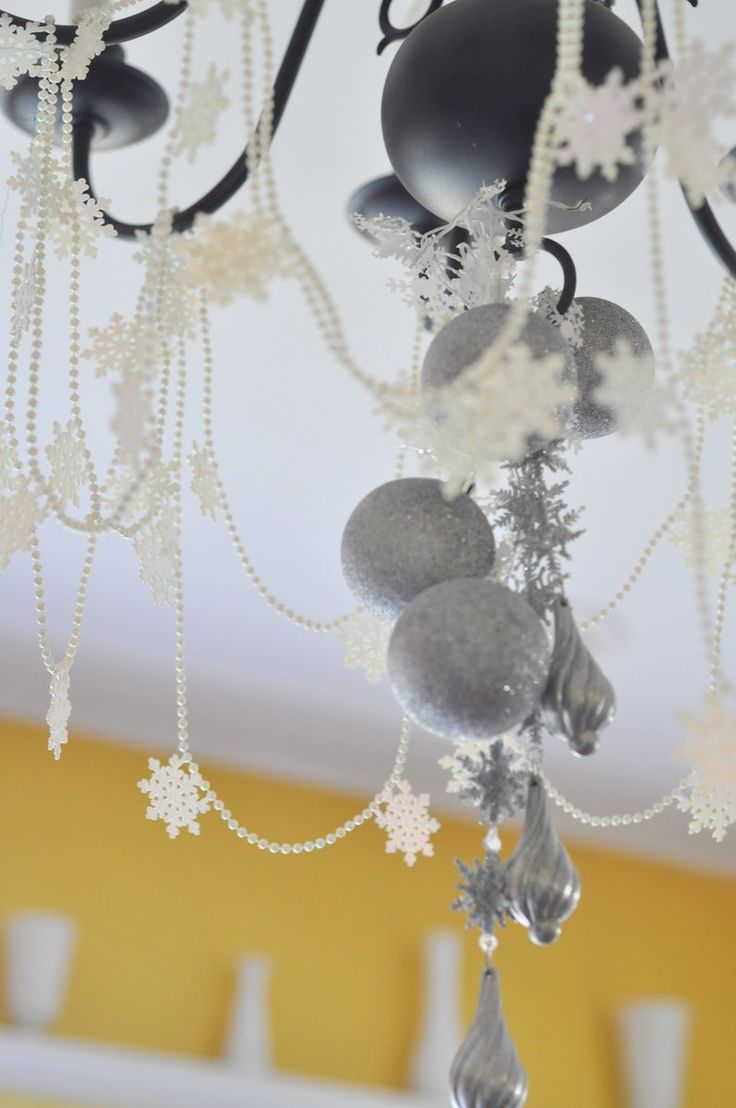 47 best decorated chandeliers images on pinterest chandeliers winter sparkle snowflake first birthday party chandelier aloadofball Images