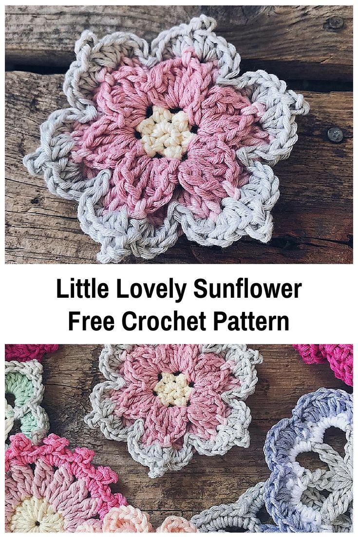Schöne kleine Sonnenblume kostenlose Häkelanleitung   – Crochet stitches