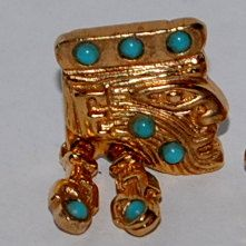 SOLD a completion of a set to a collector! Salvador Teran hinged earrings ring set gold turquoise