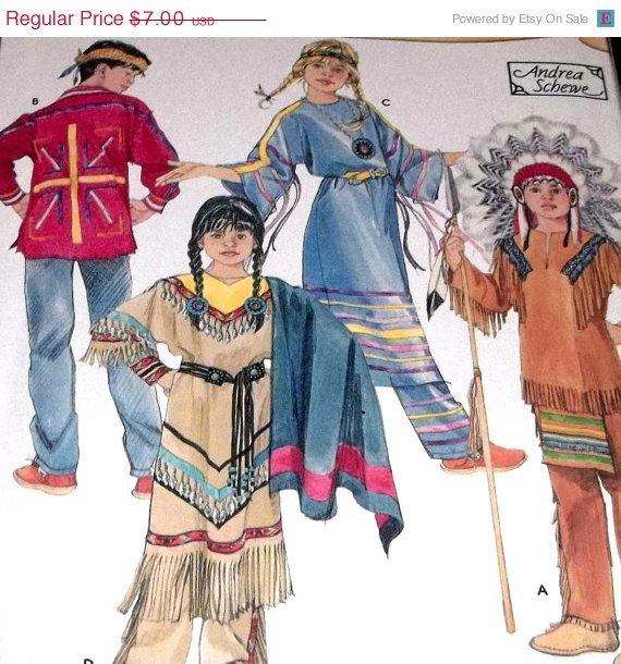 spring sale sewing pattern costume kids childrens native american indian costume pattern size 3 to - Childrens Halloween Costume Patterns