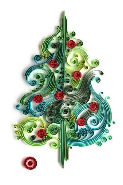 paper quilling christmas tree art yulia brodskaya