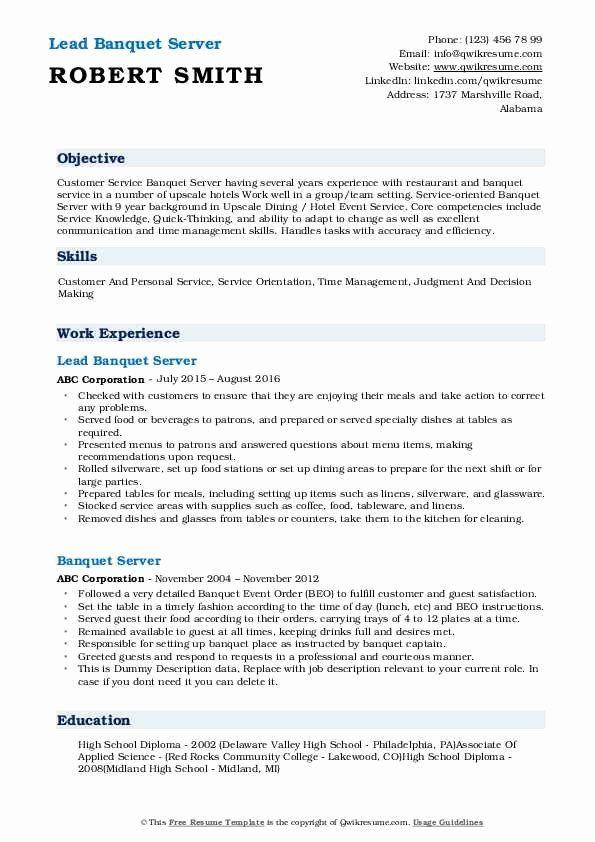 Banquet Server Job Description For Resume Awesome Banquet Server Resume Samples In 2020 Teacher Resume Preschool Teacher Resume Childcare Teacher