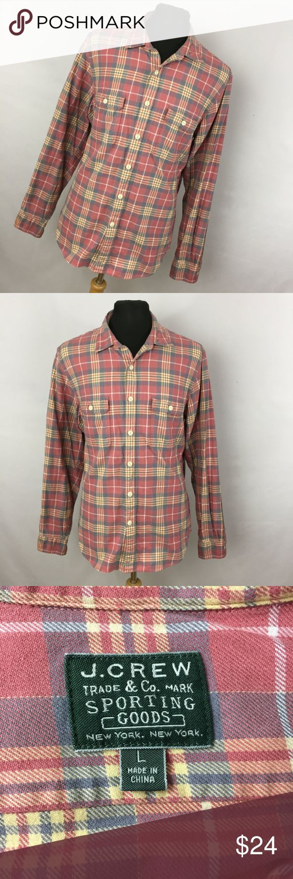 "J Crew L Large Pink Red Plaid Shirt Thick Cotton This is a great shirt.  It has a classic look and style.Chest measurement  - 48"" Length measurement - 32"" Sleeve Length measurement - Long SleeveJ Crew L Large Pink Red Plaid Shirt Thick Cotton Sporting Goods Men's J. Crew Shirts Casual Button Down Shirts"