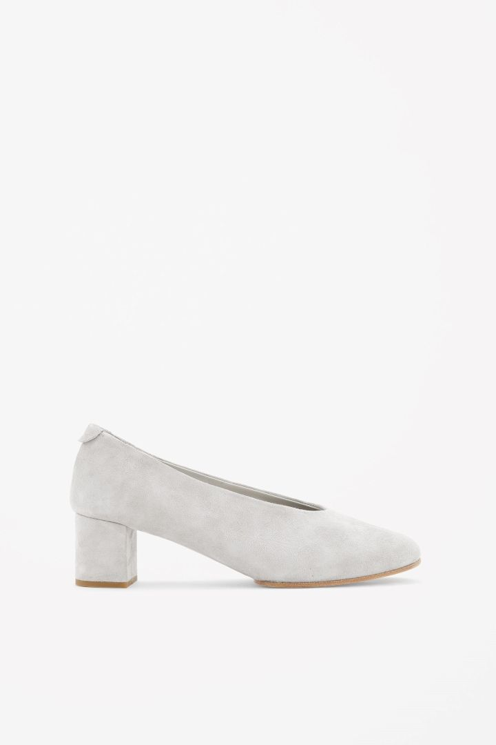 <3 Want: COS Grey Slip On Suede Pumps with Block Heel