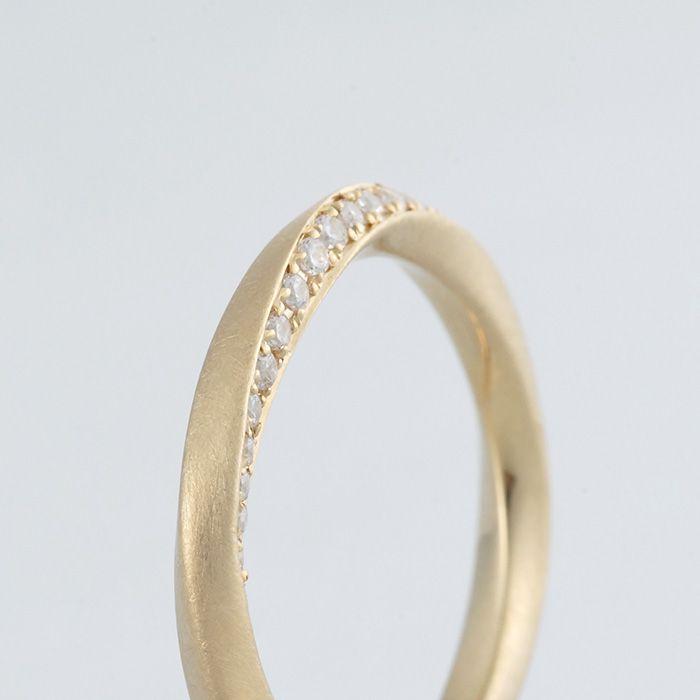 K18(ゴールド),つや消し,ダイヤモンド/マリッジリング:Rosa(ローザ)/バラの蕾のようにツイストした面    [marriage,wedding,ring,Gold,diamond,結婚指輪,マリッジリング,ダイヤモンド,ゴールド]