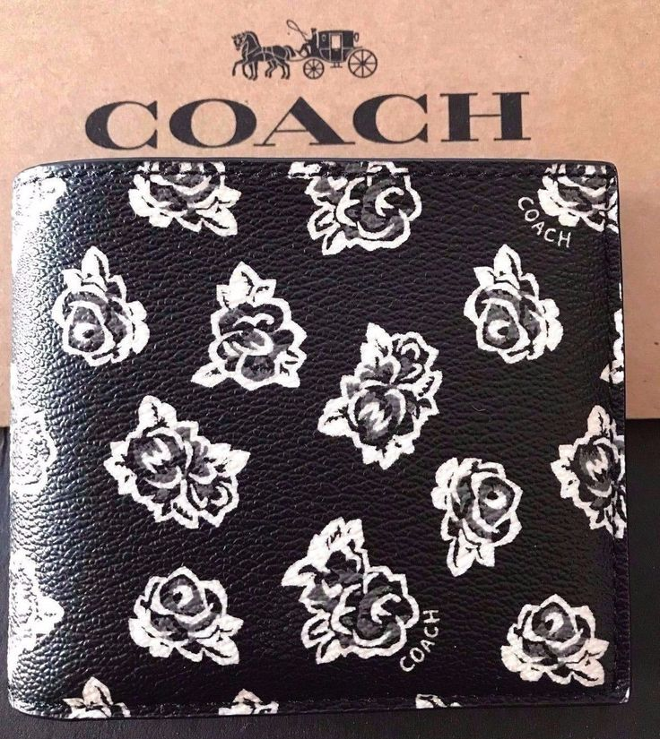 NWT Coach Men's $175 Black 3IN1 Floral PVC Leather ID Billfold Wallet F57654