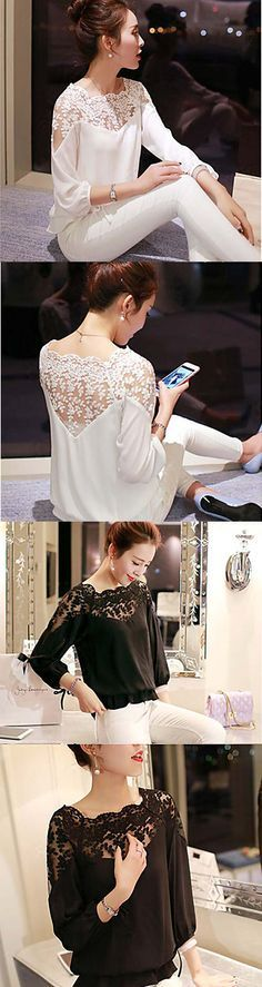 Beautiful casual chiffon lace blouse. You will always look good in such an elegant blouse which matches both pants or pencil skirt. Check it out now.