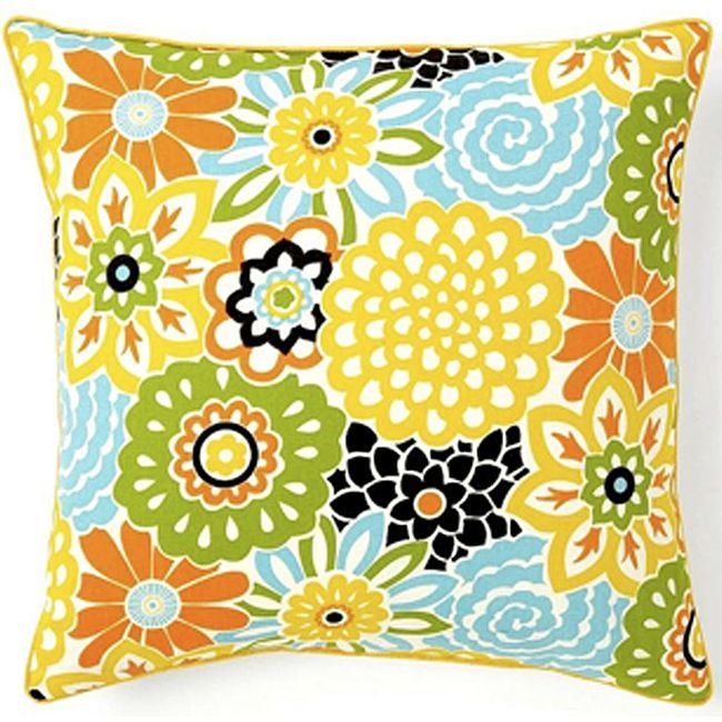 Bring the outdoors into your home with a pop with this bright square decorative cotton pillow. This bold pillow featuring orange, yellow, lime green, and blue flowers is sure to be a conversation piece among your guests. Its cover can easily be removed.