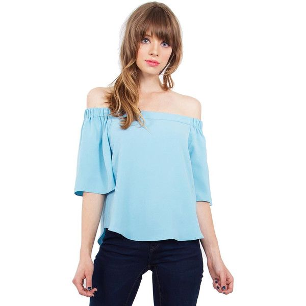 Sugar Lips Tranquil Off Shoulder Top in Dusty Blue ($54) ❤ liked on Polyvore featuring tops, blue short sleeve top, elastic top, lip top, off shoulder bell sleeve top and off the shoulder short sleeve tops