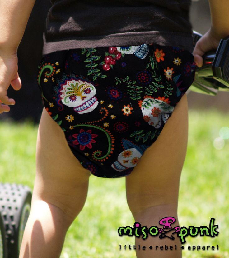 Punk Rockabilly Baby Diaper Cover Sugar Skulls  - baby shower gift. $15.00, via Etsy.
