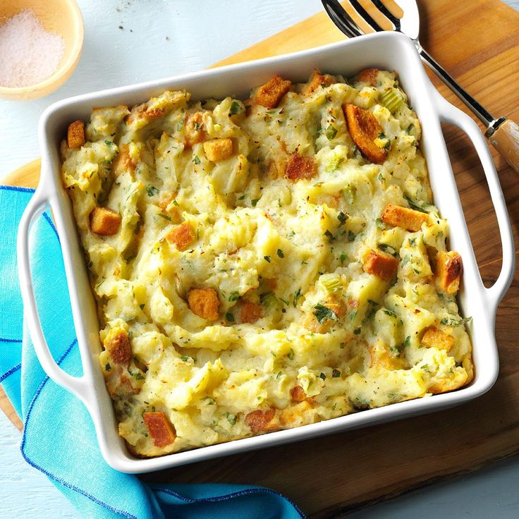 If you're looking for an alternative to mashed potatoes, try this dish. | Potato Stuffing Casserole Recipe from Taste of Home