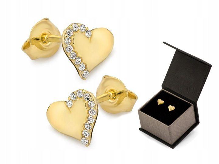Zlote Kolczyki Serce Z Cyrkoniami Pr 333 Sztyft Stud Earrings Earrings Cufflinks