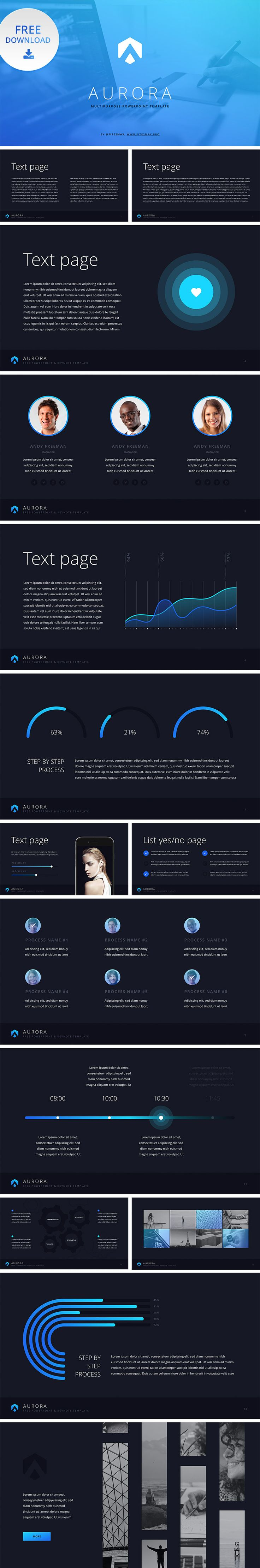 Free PowerPoint Template Download: https://hislide.io/product/aurora-free-ppt-template-blue/ #free #ppt #pptx #design #download #blue #infographic #marketing #powerpoint