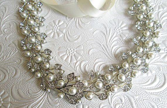 Ribbon Wedding Sash ivory Pearl sash Wedding by MissJoansBridal
